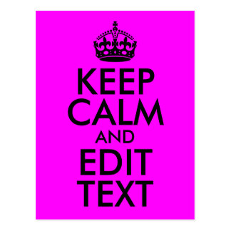 Fuchsia and Black Keep Calm and Edit Text Postcard