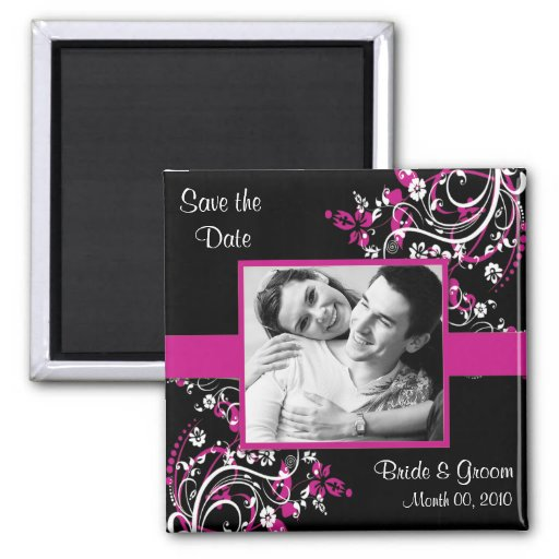 Fuchsia and Black Save the Date photo magnets