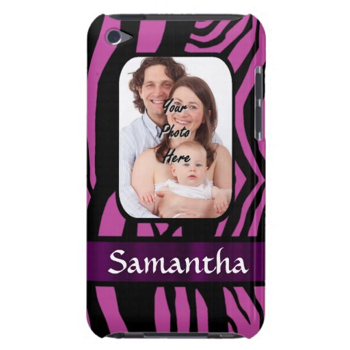 Fuchsia and black zebra print barely there iPod covers