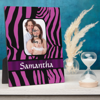 Fuchsia and black zebra print plaque