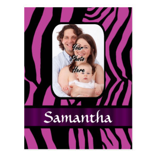 Fuchsia and black zebra print postcard