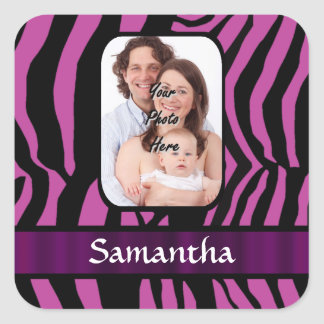 Fuchsia and black zebra print square sticker