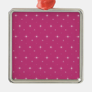 Fuchsia And Bright Stars - Elegant Girly Pattern Christmas Ornaments