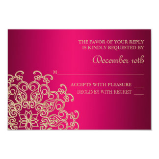 FUCHSIA AND GOLD INDIAN RESPONSE RSVP CARD 9 CM X 13 CM INVITATION CARD