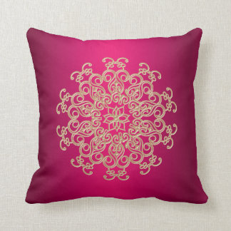 Fuchsia and Gold Indian Style Cushion