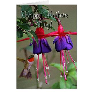Fuchsia and Hummingbird Mothers Day Card