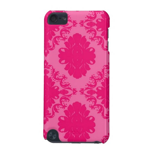 Fuchsia and Light ink Damask Pattern iPod Touch 5G Cases