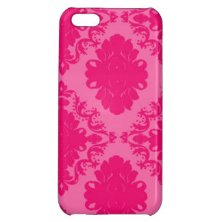Fuchsia and Light ink Damask Pattern iPhone 5C Cover