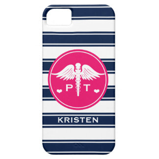 FUCHSIA AND NAVY STRIPE PHYSICAL THERAPY PT iPhone 5 CASES