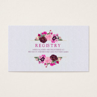 Fuchsia and Plum Floral Wedding Registry Card