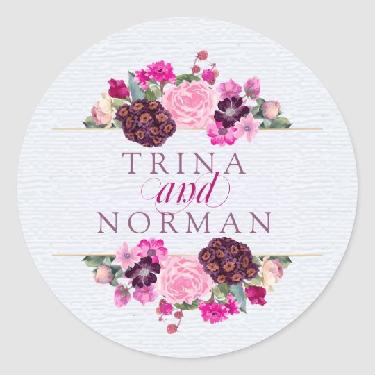 Fuchsia and Plum Floral Wedding Stickers
