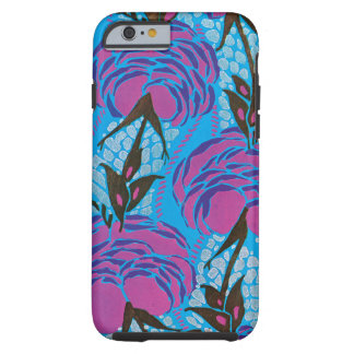 Fuchsia and purple art deco flowers tough iPhone 6 case