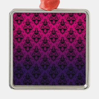Fuchsia and Purple Damask Pattern Christmas Ornaments