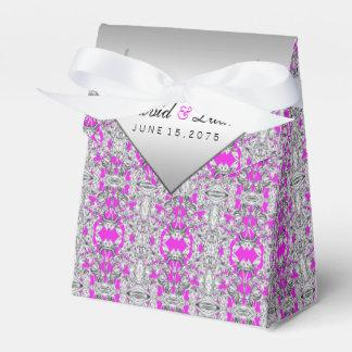 Fuchsia and Silver Wedding Favor Box Wedding Favour Box