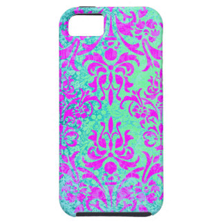 Fuchsia and Turquoise Grunge Vintage Damask Case For The iPhone 5