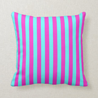Fuchsia/Aqua Colored Stripes Cushion