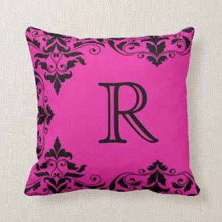Fuchsia & Black Monogram Damask Pillow