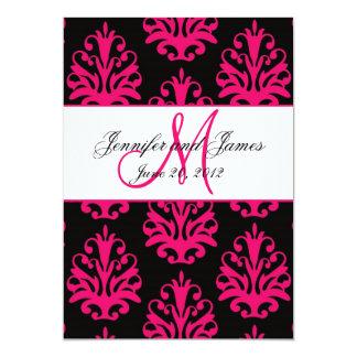 Fuchsia Black Paisley Wedding Save the Date Card