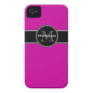 Fuchsia Black Personalized iPhone 4 Case-Mate iPhone 4 Cover