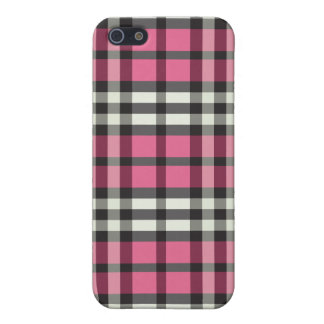 Fuchsia/Black Plaid Pern iPhone 5/5S Cover