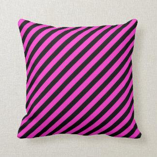 Fuchsia/Black Stripes Colored Pillow