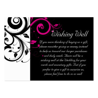 Fuchsia Black Swirl Wishing Well Wedding Card Pack Of Chubby Business Cards