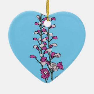 Fuchsia Blossom Ceramic Heart Decoration