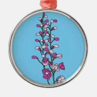 Fuchsia Blossom Silver-Colored Round Decoration