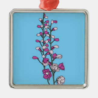 Fuchsia Blossom Silver-Colored Square Decoration