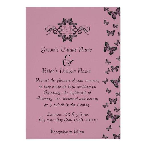 Fuchsia Butterflies Monogram Wedding Invitation