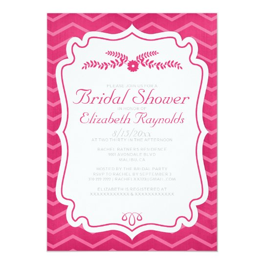 Fuchsia Chevron Stripes Bridal Shower Invitations