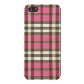 Fuchsia/Chocolate Plaid Pern iPhone 5 Cover