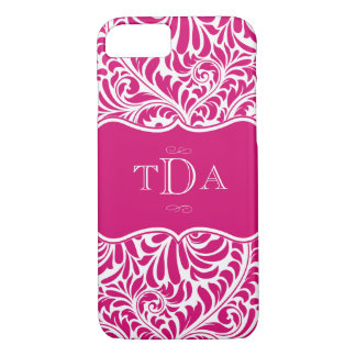 Fuchsia Color Damask Pattern Design Monogrammed iPhone 7 Case