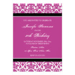 Fuchsia Damask 30th Birthday Party Invitations
