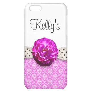 Fuchsia Damask & Black Polka Dot Ribbon Cover For iPhone 5C