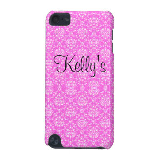 Fuchsia Damask & Black Polka Dot Ribbon iPod Touch (5th Generation) Cases