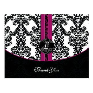 fuchsia damask ThankYou Cards