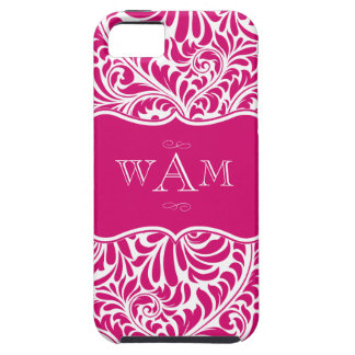 Fuchsia Damask Three Monograms Phone Case iPhone 5 Covers