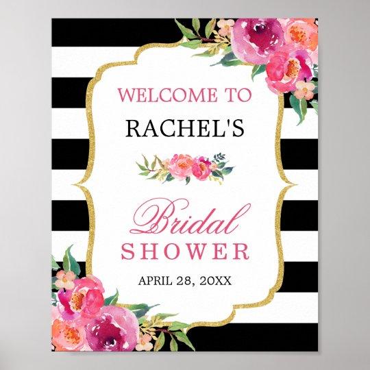 Fuchsia Floral Black Stripes Bridal Shower Sign