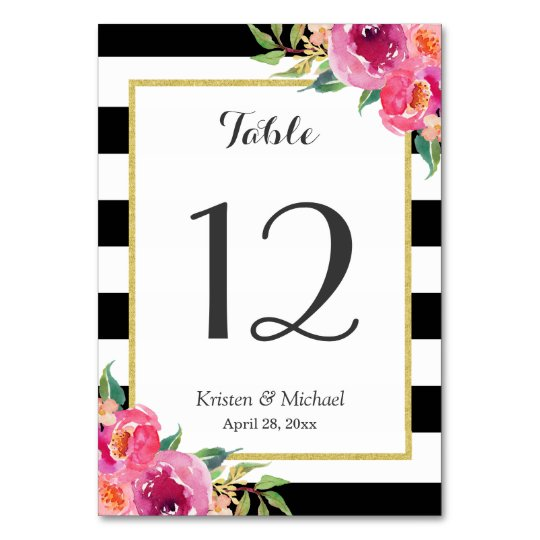 Fuchsia Floral Black White Stripes Table Number