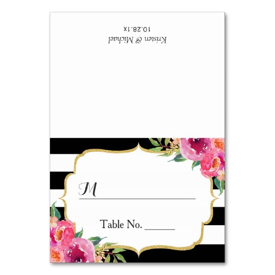 Fuchsia Floral Black White Stripes Wedding Place Card