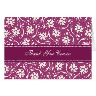 Fuchsia Floral Cousin Thank You Bridesmaid Card