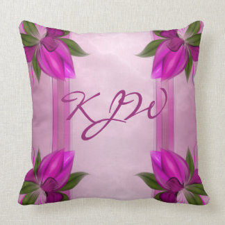 Fuchsia Floral Marble Panels Monogram Throw Pillow