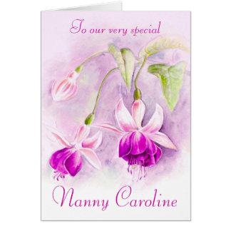 Fuchsia floral purple pink nanny birthday card