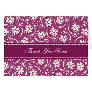 Fuchsia Floral Sister Thank You Bridesmaid Card
