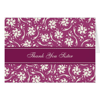 Fuchsia Floral Sister Thank You Maid of Honor Card