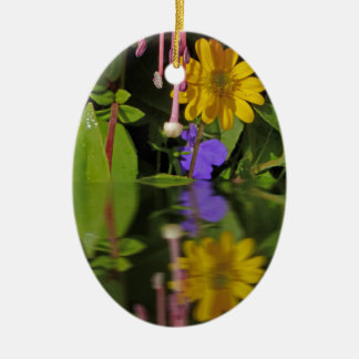 Fuchsia  flower in reflection ceramic oval decoration