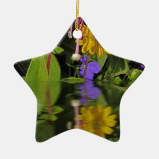 Fuchsia  flower in reflection ceramic star decoration