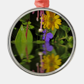 Fuchsia  flower in reflection Silver-Colored round decoration