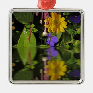 Fuchsia  flower in reflection Silver-Colored square decoration